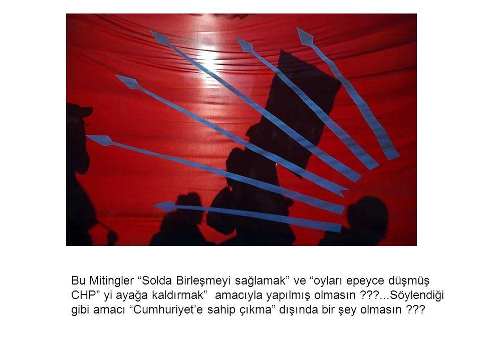 Bu Mitingler Solda Birleşmeyi sağlamak ve oyları epeyce düşmüş CHP yi ayağa kaldırmak amacıyla yapılmış olmasın ???...Söylendiği gibi amacı Cumhuriyet'e sahip çıkma dışında bir şey olmasın ???