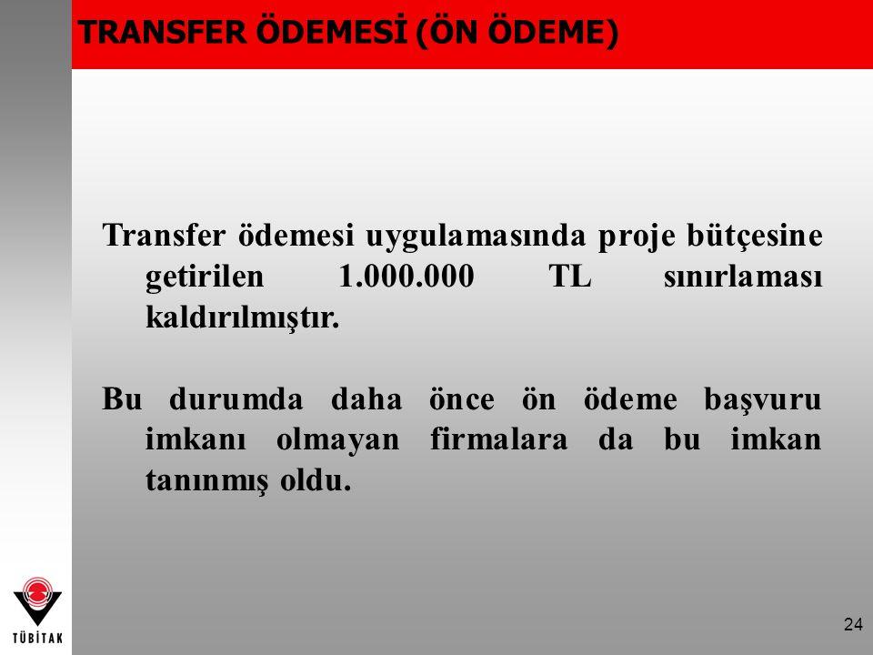 24 Transfer ödemesi uygulamasında proje bütçesine getirilen 1.000.000 TL sınırlaması kaldırılmıştır.