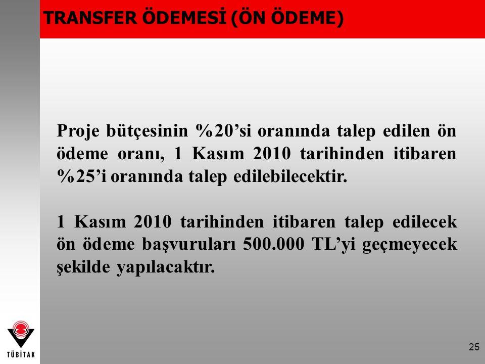 25 Proje bütçesinin %20'si oranında talep edilen ön ödeme oranı, 1 Kasım 2010 tarihinden itibaren %25'i oranında talep edilebilecektir.
