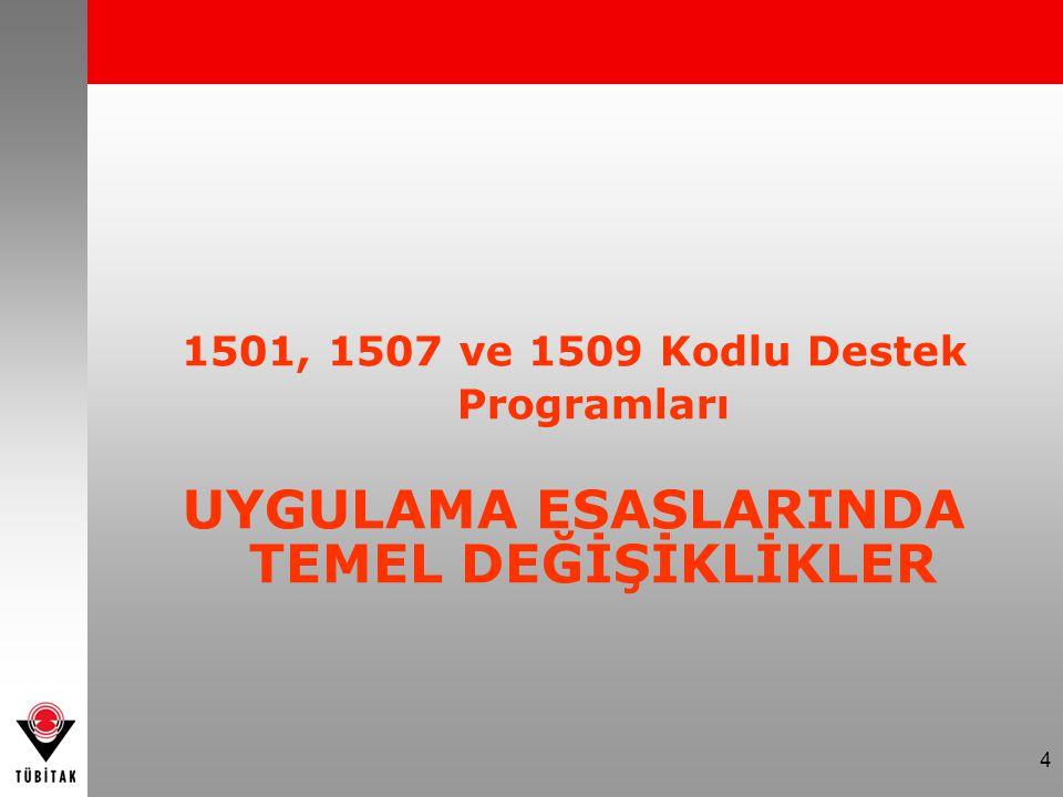 4 1501, 1507 ve 1509 Kodlu Destek Programları UYGULAMA ESASLARINDA TEMEL DEĞİŞİKLİKLER