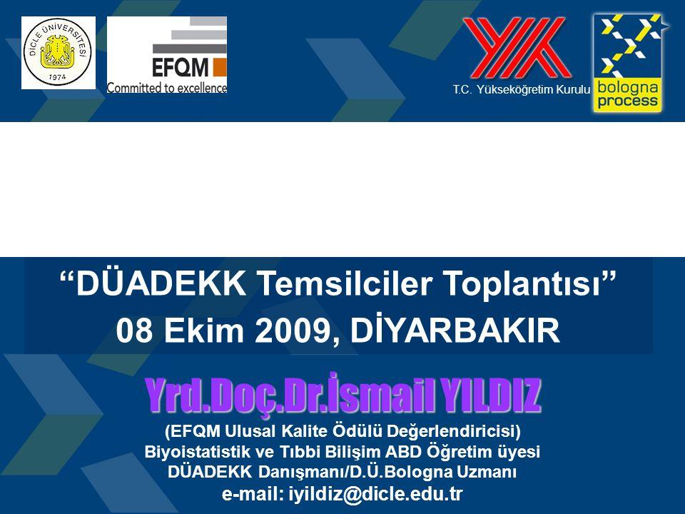 """1 T.C. Yükseköğretim Kurulu """"DÜADEKK Temsilciler Toplantısı"""" 08 Ekim 2009, DİYARBAKIR Yrd.Doç.Dr.İsmail YILDIZ (EFQM Ulusal Kalite Ödülü Değerlendiric"""
