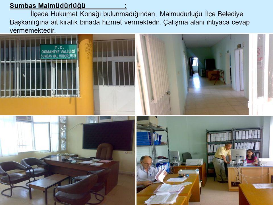 Sumbas Malmüdürlüğü : İlçede Hükümet Konağı bulunmadığından, Malmüdürlüğü İlçe Belediye Başkanlığına ait kiralık binada hizmet vermektedir. Çalışma al