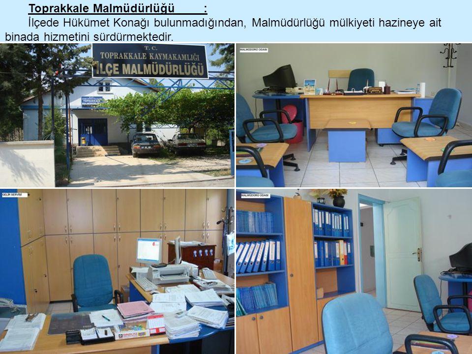 Toprakkale Malmüdürlüğü : İlçede Hükümet Konağı bulunmadığından, Malmüdürlüğü mülkiyeti hazineye ait binada hizmetini sürdürmektedir.