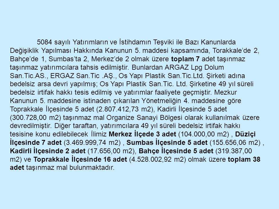 5084 sayılı Yatırımların ve İstihdamın Teşviki ile Bazı Kanunlarda Değişiklik Yapılması Hakkında Kanunun 5. maddesi kapsamında, Torakkale'de 2, Bahçe'
