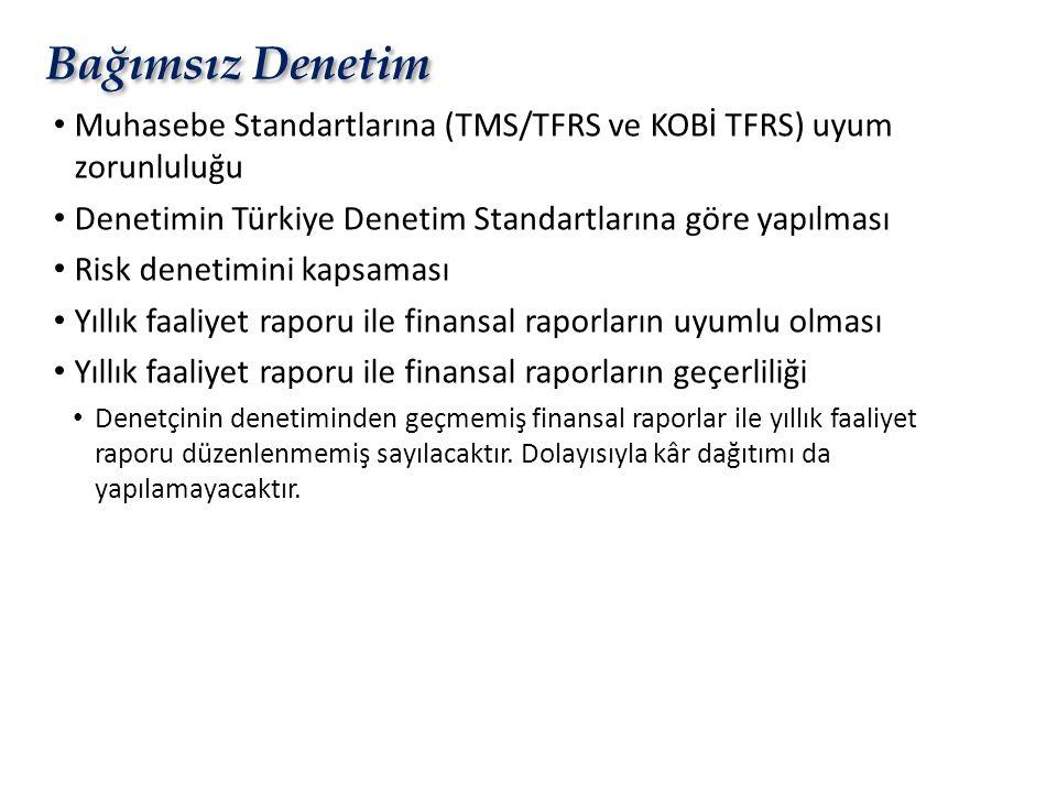 Bağımsız Denetim • Muhasebe Standartlarına (TMS/TFRS ve KOBİ TFRS) uyum zorunluluğu • Denetimin Türkiye Denetim Standartlarına göre yapılması • Risk d