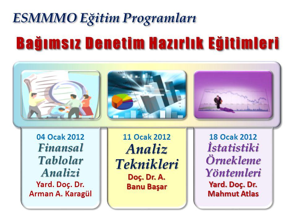 ESMMMO Eğitim Programları Finansal Tablolar Analizi 04 Ocak 2012 Finansal Tablolar Analizi Yard. Doç. Dr. Arman A. Karagül Analiz Teknikleri Doç. Dr.