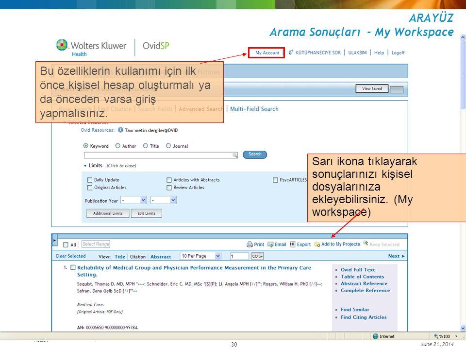June 21, 2014 30 ARAYÜZ Arama Sonuçları - My Workspace Sarı ikona tıklayarak sonuçlarınızı kişisel dosyalarınıza ekleyebilirsiniz. (My workspace) Bu ö