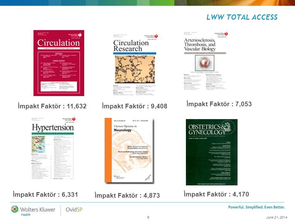 June 21, 2014 9 LWW TOTAL ACCESS İmpakt Faktör : 11,632 İmpakt Faktör : 7,053 İmpakt Faktör : 9,408 İmpakt Faktör : 4,170 İmpakt Faktör : 4,873 İmpakt