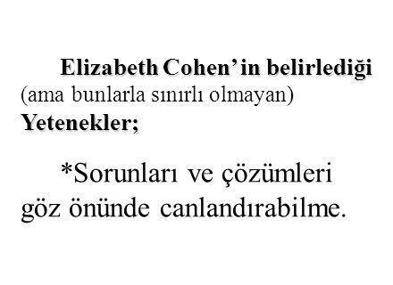Elizabeth Cohen' in belirlediği Yetenekler; Elizabeth Cohen' in belirlediği (ama bunlarla sınırlı olmayan) Yetenekler; *Sorunları ve çözümleri göz önü