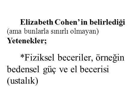 Elizabeth Cohen' in belirlediği Yetenekler; Elizabeth Cohen' in belirlediği (ama bunlarla sınırlı olmayan) Yetenekler; *Fiziksel beceriler, örneğin be