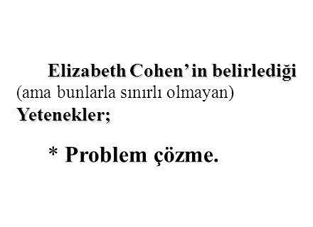 Elizabeth Cohen' in belirlediği Yetenekler; Elizabeth Cohen' in belirlediği (ama bunlarla sınırlı olmayan) Yetenekler; * Problem çözme.