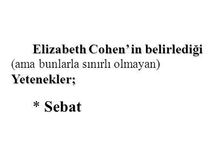 Elizabeth Cohen' in belirlediği Yetenekler; Elizabeth Cohen' in belirlediği (ama bunlarla sınırlı olmayan) Yetenekler; * Sebat