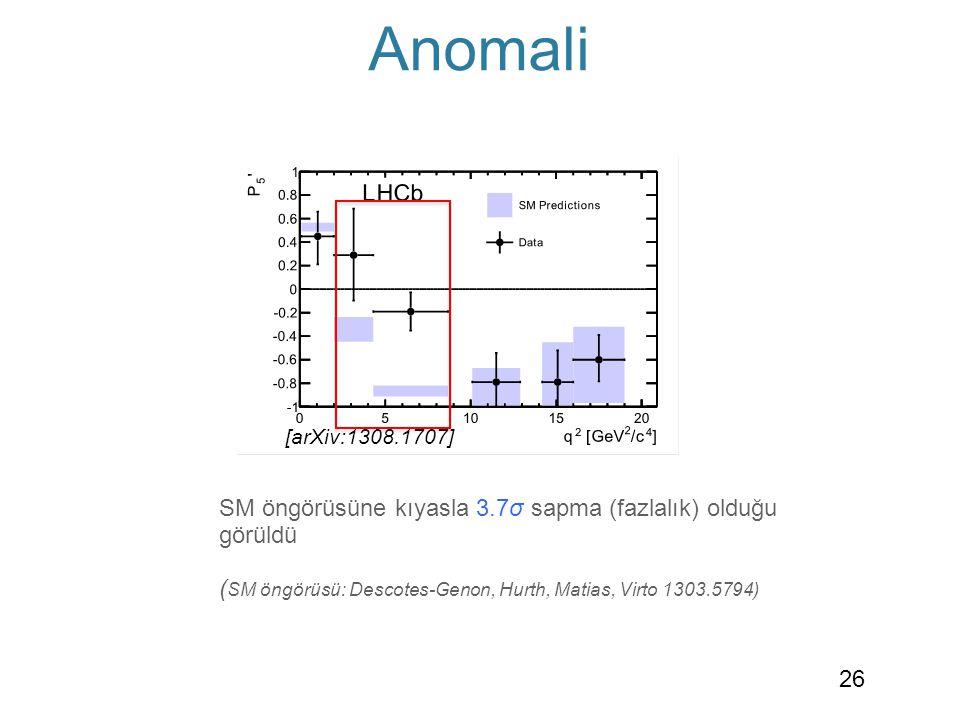 Anomali [arXiv:1308.1707] P 5 ' parametresinde 4.3<q 2 <8.68 GeV 2 aralığında SM öngörüsüne kıyasla 3.7σ sapma (fazlalık) olduğu görüldü ( SM öngörüsü