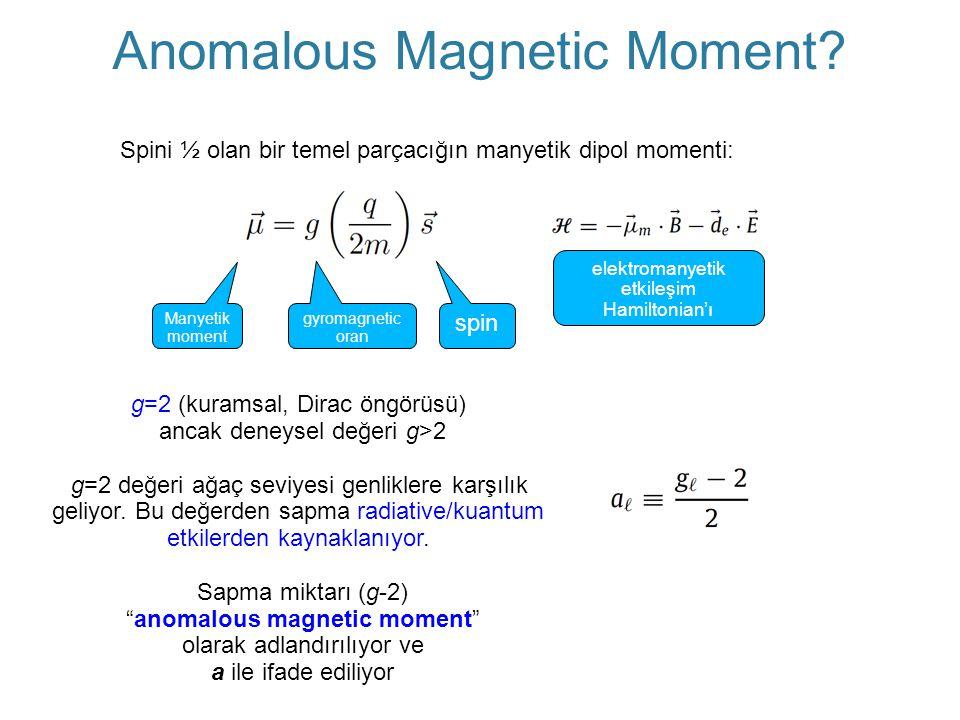 Spini ½ olan bir temel parçacığın manyetik dipol momenti: spin Manyetik moment gyromagnetic oran elektromanyetik etkileşim Hamiltonian'ı g=2 (kuramsal