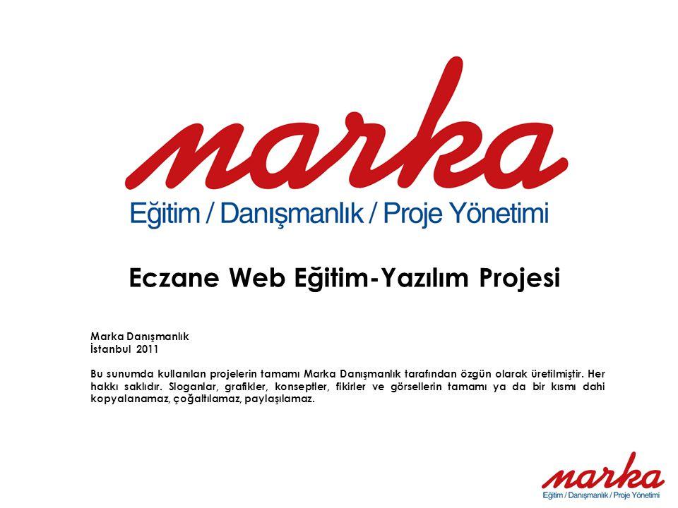 Eczane Web Eğitim-Yazılım Projesi Marka Danışmanlık İstanbul 2011 Bu sunumda kullanılan projelerin tamamı Marka Danışmanlık tarafından özgün olarak üretilmiştir.