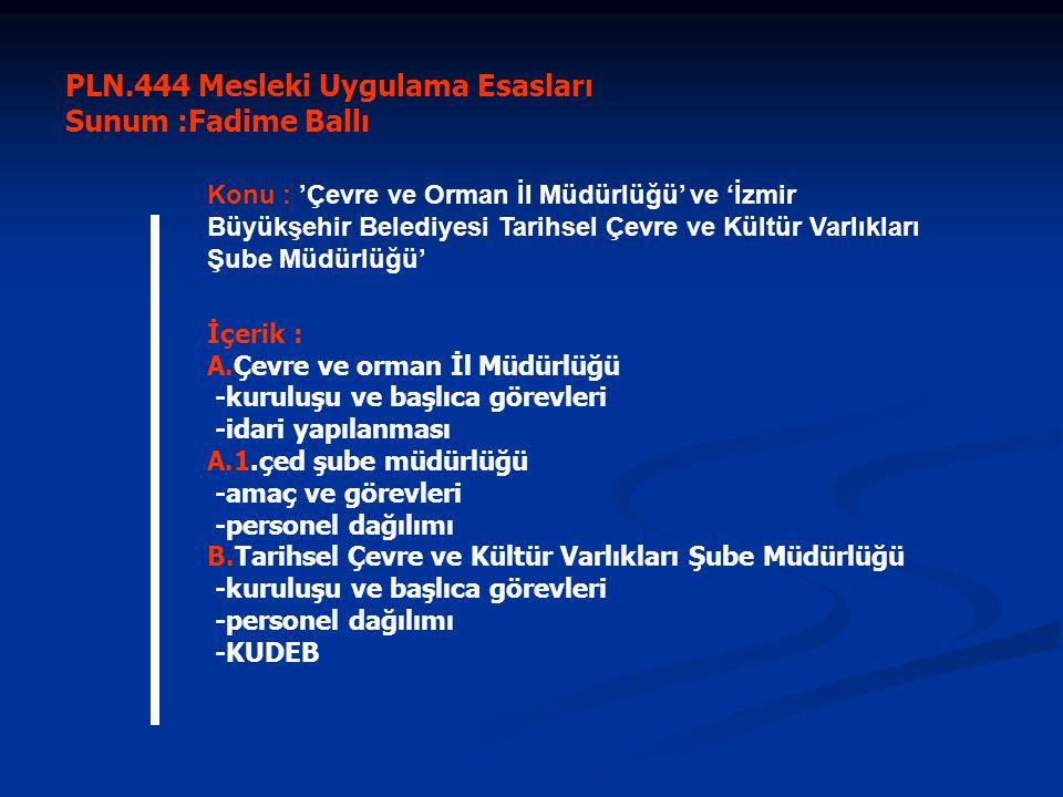 Yaralanılan Kaynaklar :   www.izmirçevre.gov.tr www.izmirçevre.gov.tr   www.izmir.bel.tr www.izmir.bel.tr   Tarihsel Çevre ve Kültür Varlıkları Şb.