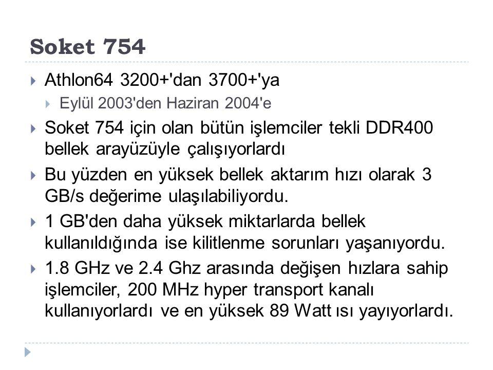 Soket 754  Athlon64 3200+'dan 3700+'ya  Eylül 2003'den Haziran 2004'e  Soket 754 için olan bütün işlemciler tekli DDR400 bellek arayüzüyle çalışıyo