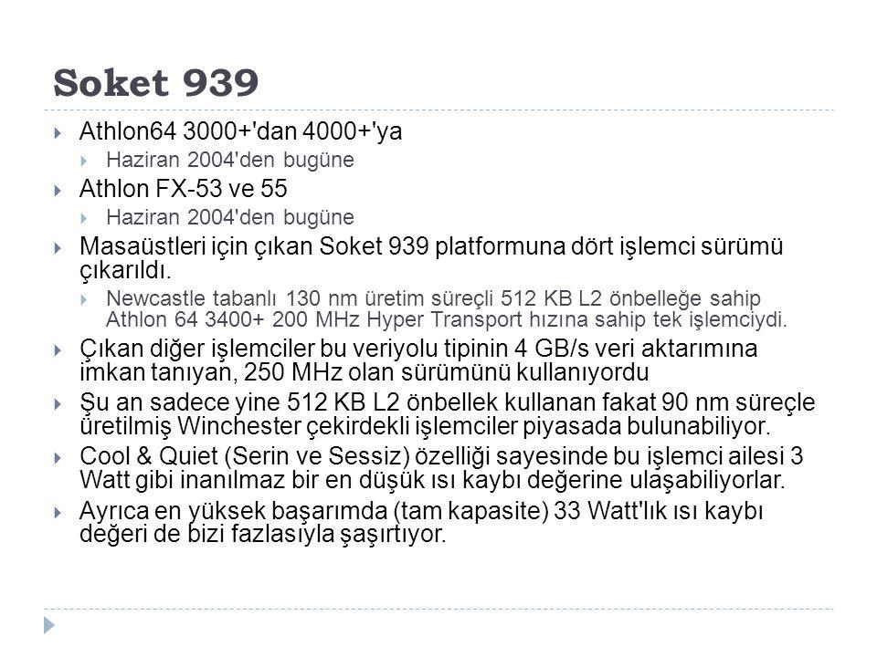 Soket 939  Athlon64 3000+'dan 4000+'ya  Haziran 2004'den bugüne  Athlon FX-53 ve 55  Haziran 2004'den bugüne  Masaüstleri için çıkan Soket 939 pl
