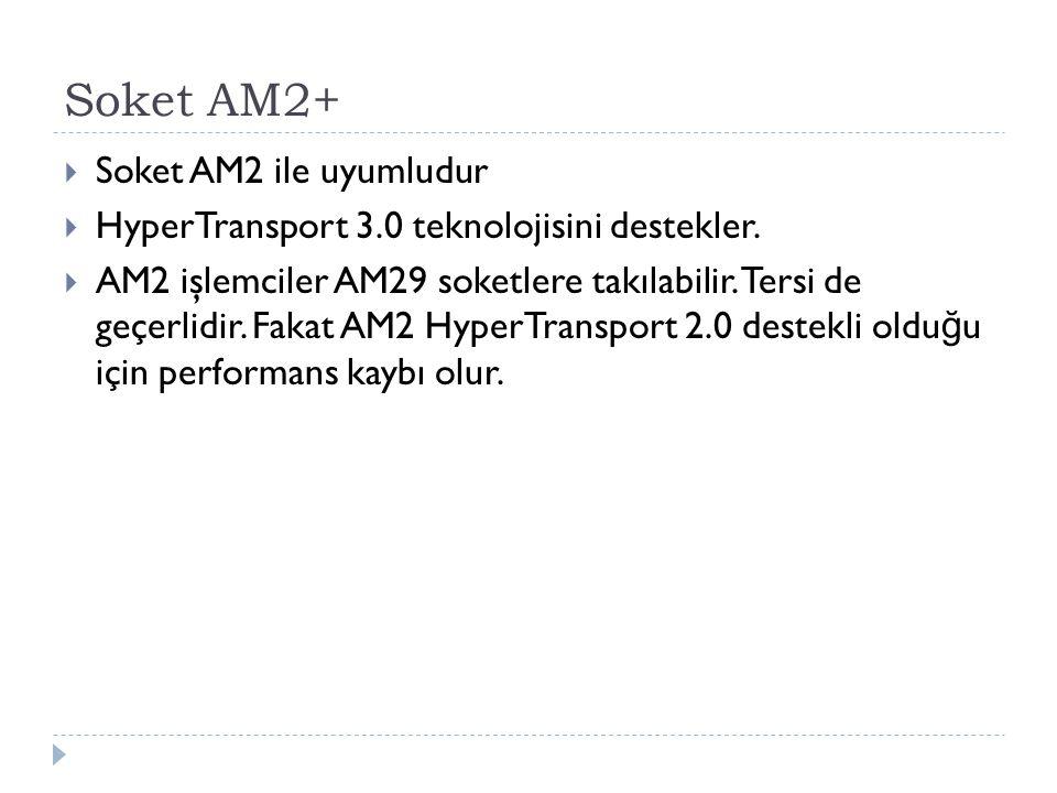 Soket AM2+  Soket AM2 ile uyumludur  HyperTransport 3.0 teknolojisini destekler.  AM2 işlemciler AM29 soketlere takılabilir. Tersi de geçerlidir. F