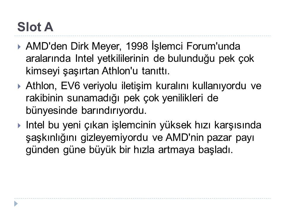 Slot A  AMD'den Dirk Meyer, 1998 İşlemci Forum'unda aralarında Intel yetkililerinin de bulunduğu pek çok kimseyi şaşırtan Athlon'u tanıttı.  Athlon,