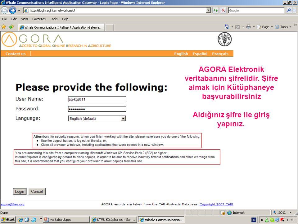 AGORA Elektronik veritabanını şifrelidir.