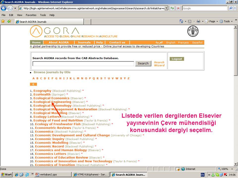 Listede verilen dergilerden Elsevier yayınevinin Çevre mühendisliği konusundaki dergiyi seçelim.