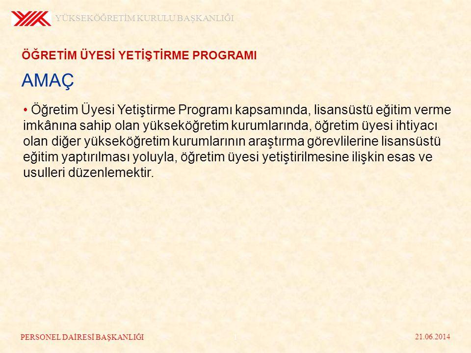 AMAÇ ÖĞRETİM ÜYESİ YETİŞTİRME PROGRAMI • Öğretim Üyesi Yetiştirme Programı kapsamında, lisansüstü eğitim verme imkânına sahip olan yükseköğretim kurum