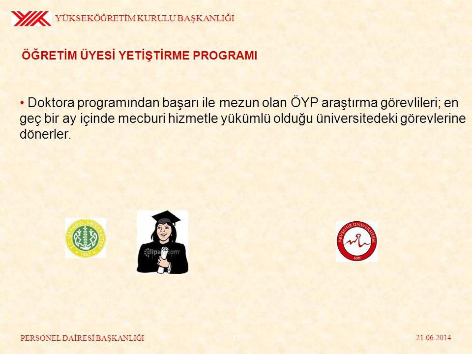 ÖĞRETİM ÜYESİ YETİŞTİRME PROGRAMI • Doktora programından başarı ile mezun olan ÖYP araştırma görevlileri; en geç bir ay içinde mecburi hizmetle yüküml