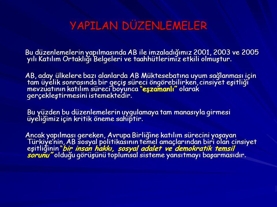 YAPILAN DÜZENLEMELER Bu düzenlemelerin yapılmasında AB ile imzaladığımız 2001, 2003 ve 2005 yılı Katılım Ortaklığı Belgeleri ve taahhütlerimiz etkili olmuştur.