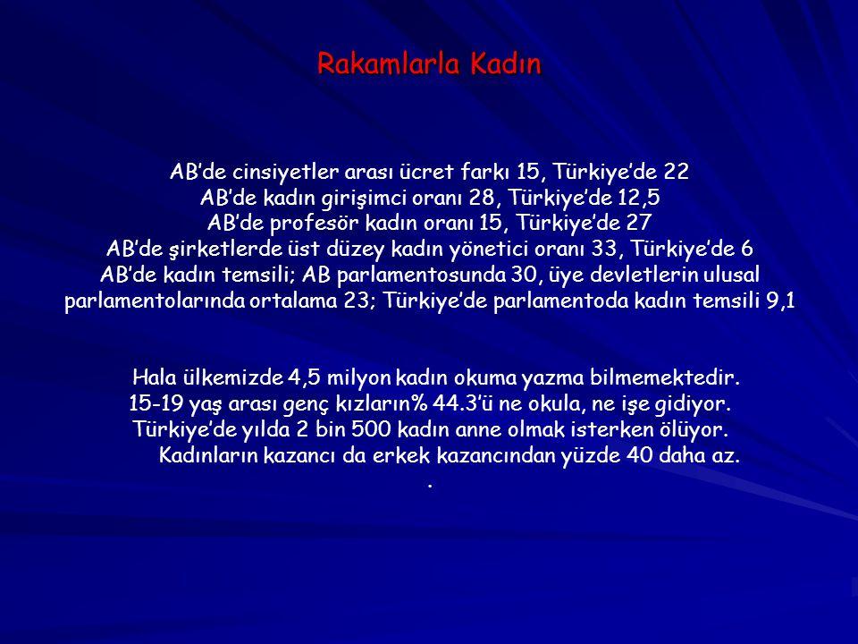 Rakamlarla Kadın AB'de cinsiyetler arası ücret farkı 15, Türkiye'de 22 AB'de kadın girişimci oranı 28, Türkiye'de 12,5 AB'de profesör kadın oranı 15,