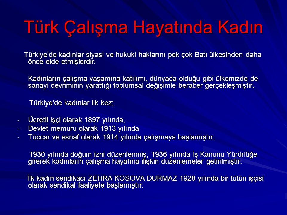 Türk Çalışma Hayatında Kadın Türkiye'de kadınlar siyasi ve hukuki haklarını pek çok Batı ülkesinden daha önce elde etmişlerdir. Türkiye'de kadınlar si