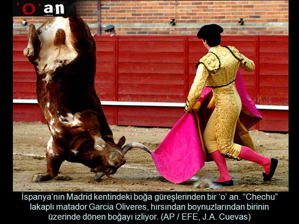 İspanya'nın Madrid kentindeki boğa güreşlerinden bir 'o' an.