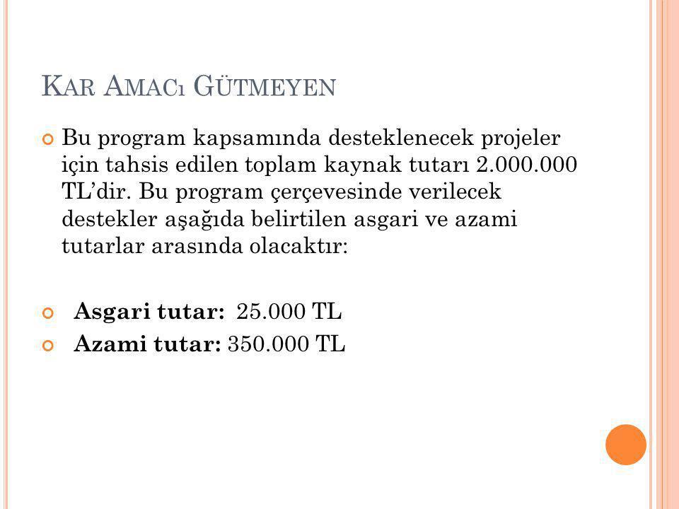K AR A MACı G ÜTMEYEN Bu program kapsamında desteklenecek projeler için tahsis edilen toplam kaynak tutarı 2.000.000 TL'dir.