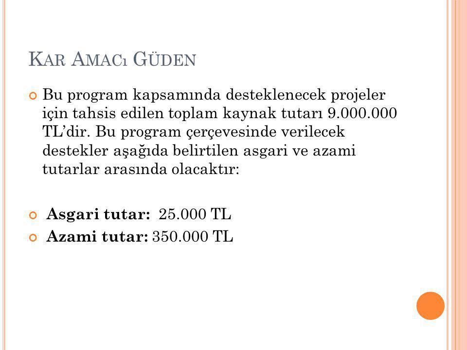 K AR A MACı G ÜDEN Bu program kapsamında desteklenecek projeler için tahsis edilen toplam kaynak tutarı 9.000.000 TL'dir.