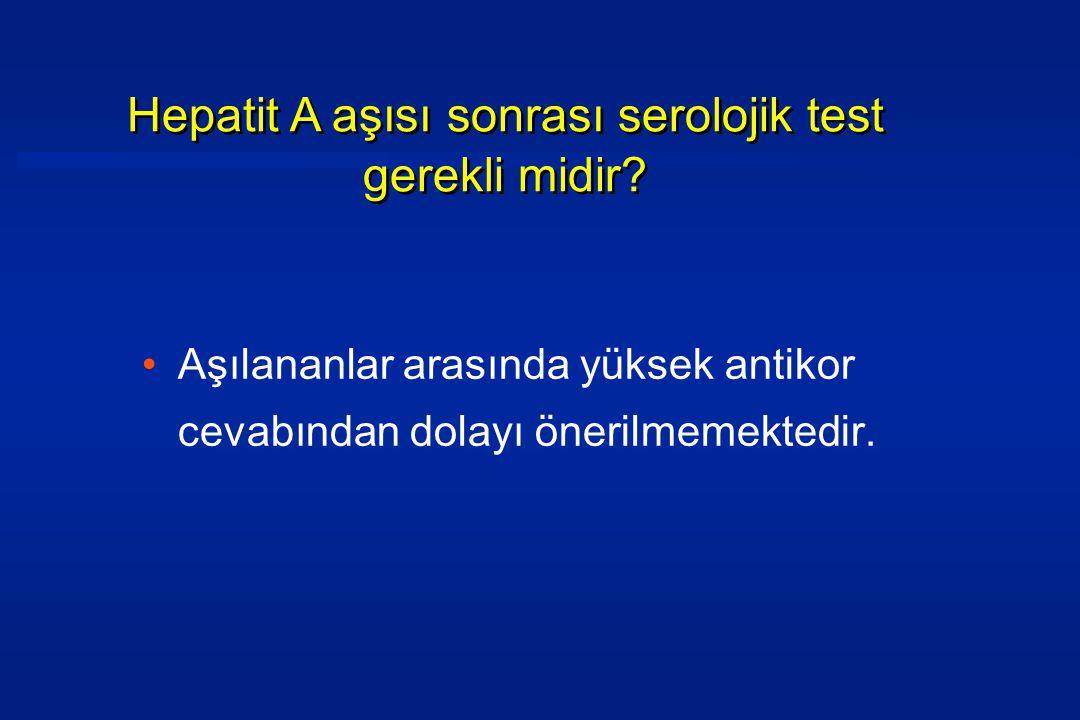 •Aşılananlar arasında yüksek antikor cevabından dolayı önerilmemektedir.