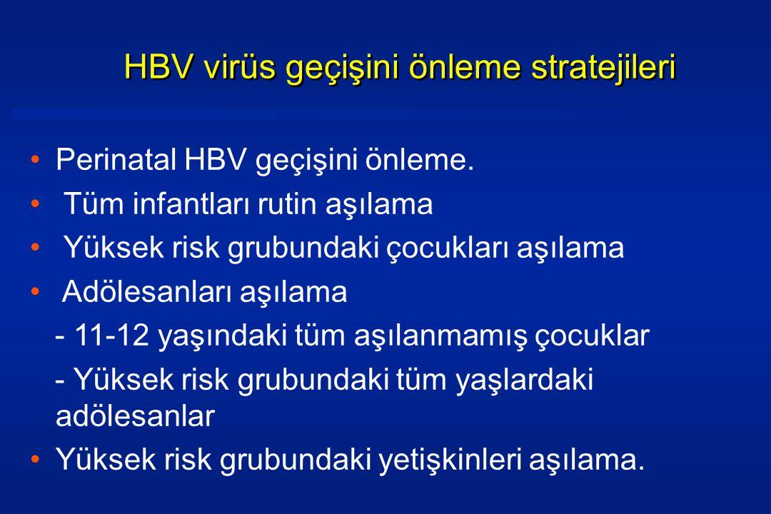 •Perinatal HBV geçişini önleme.