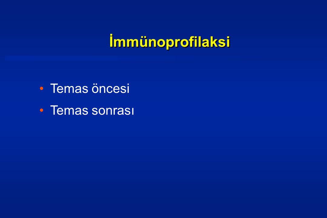 •Temas öncesi •Temas sonrası İmmünoprofilaksi