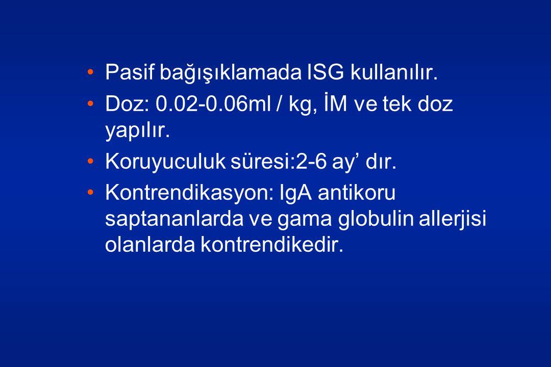 •Pasif bağışıklamada ISG kullanılır.•Doz: 0.02-0.06ml / kg, İM ve tek doz yapılır.