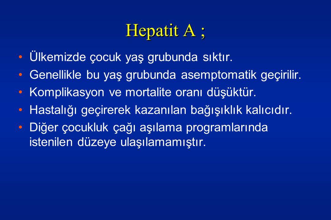 •Hepatit A içinde toplumun %80-90'ına ulaşılmayan bir aşılama hastalığı elimine etmeyip, hastalık yaşının ileri yaşlara kaymasına ve komplikasyonların artmasına sebep olacaktır.