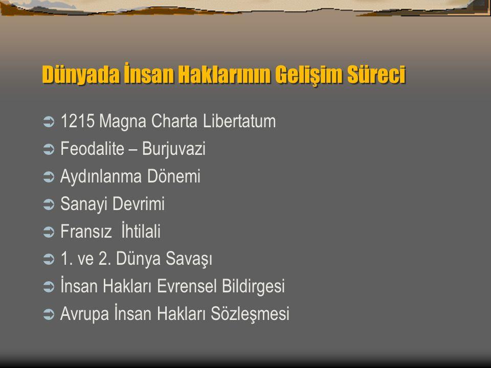 Dünyada İnsan Haklarının Gelişim Süreci  1215 Magna Charta Libertatum  Feodalite – Burjuvazi  Aydınlanma Dönemi  Sanayi Devrimi  Fransız İhtilali  1.