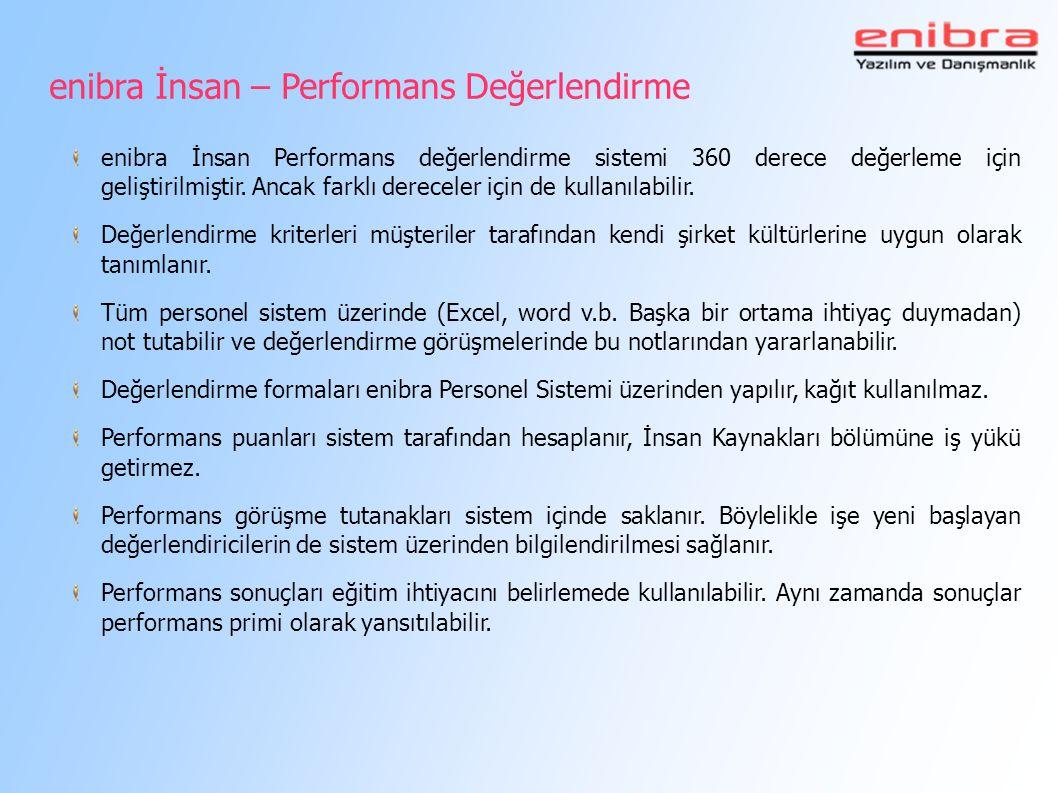 enibra İnsan – Performans Değerlendirme enibra İnsan Performans değerlendirme sistemi 360 derece değerleme için geliştirilmiştir. Ancak farklı derecel