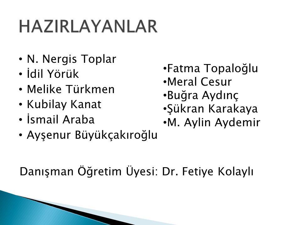 • N. Nergis Toplar • İdil Yörük • Melike Türkmen • Kubilay Kanat • İsmail Araba • Ayşenur Büyükçakıroğlu • Fatma Topaloğlu • Meral Cesur • Buğra Aydın