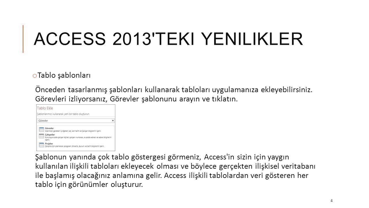 ACCESS 2013 TEKI YENILIKLER o Tablo şablonları Önceden tasarlanmış şablonları kullanarak tabloları uygulamanıza ekleyebilirsiniz.