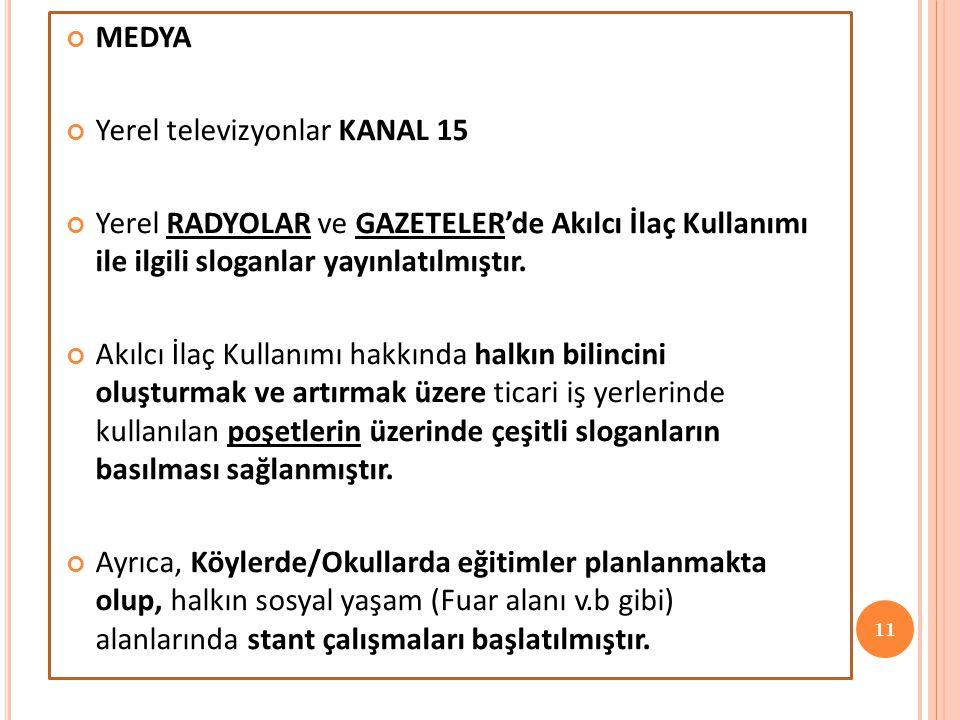 MEDYA Yerel televizyonlar KANAL 15 Yerel RADYOLAR ve GAZETELER'de Akılcı İlaç Kullanımı ile ilgili sloganlar yayınlatılmıştır. Akılcı İlaç Kullanımı h