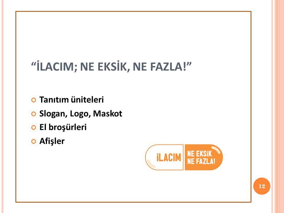 """""""İLACIM; NE EKSİK, NE FAZLA!"""" Tanıtım üniteleri Slogan, Logo, Maskot El broşürleri Afişler 12"""
