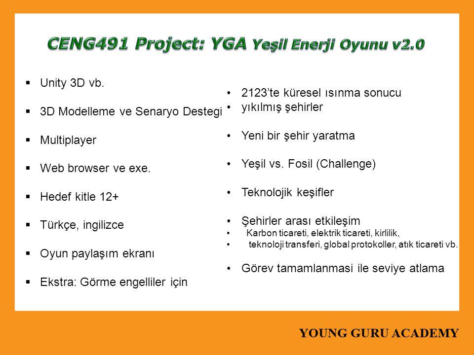  Unity 3D vb.  3D Modelleme ve Senaryo Destegi  Multiplayer  Web browser ve exe.  Hedef kitle 12+  Türkçe, ingilizce  Oyun paylaşım ekranı  Ek