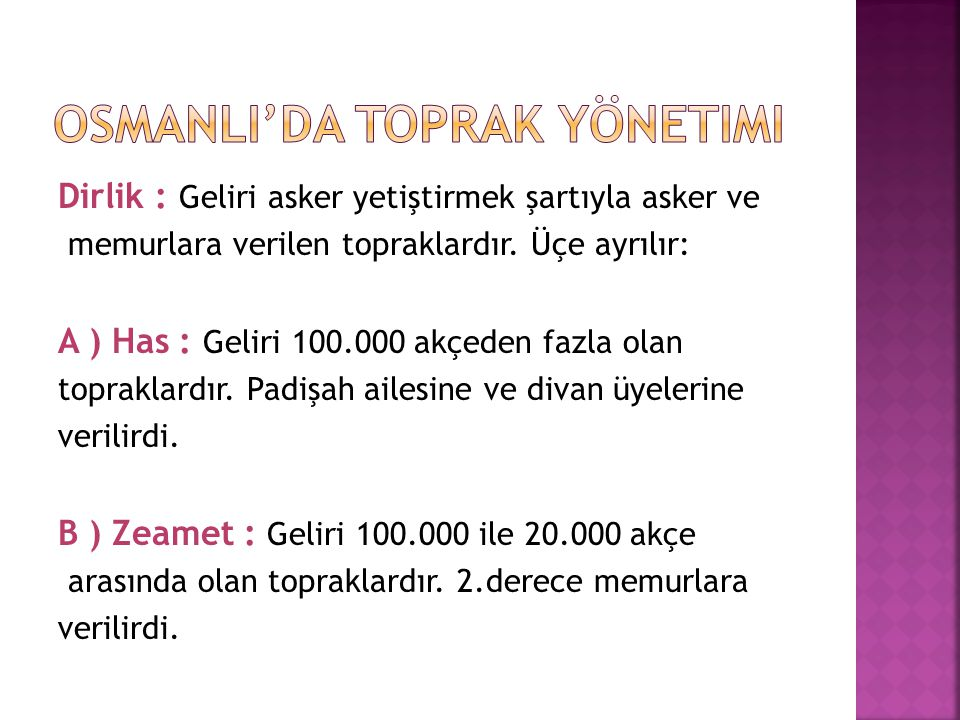 C ) Tımar : Geliri 20.000 ile 3.000 arasında olan topraklardır.