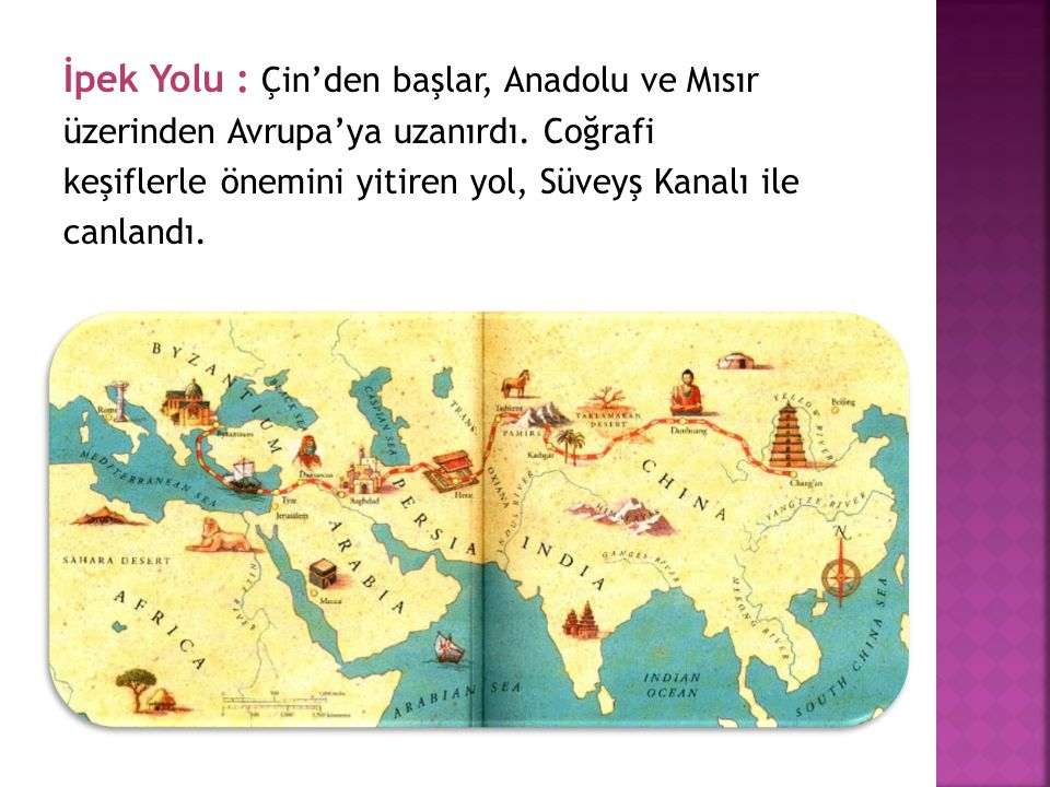 İpek Yolu : Çin'den başlar, Anadolu ve Mısır üzerinden Avrupa'ya uzanırdı. Coğrafi keşiflerle önemini yitiren yol, Süveyş Kanalı ile canlandı.