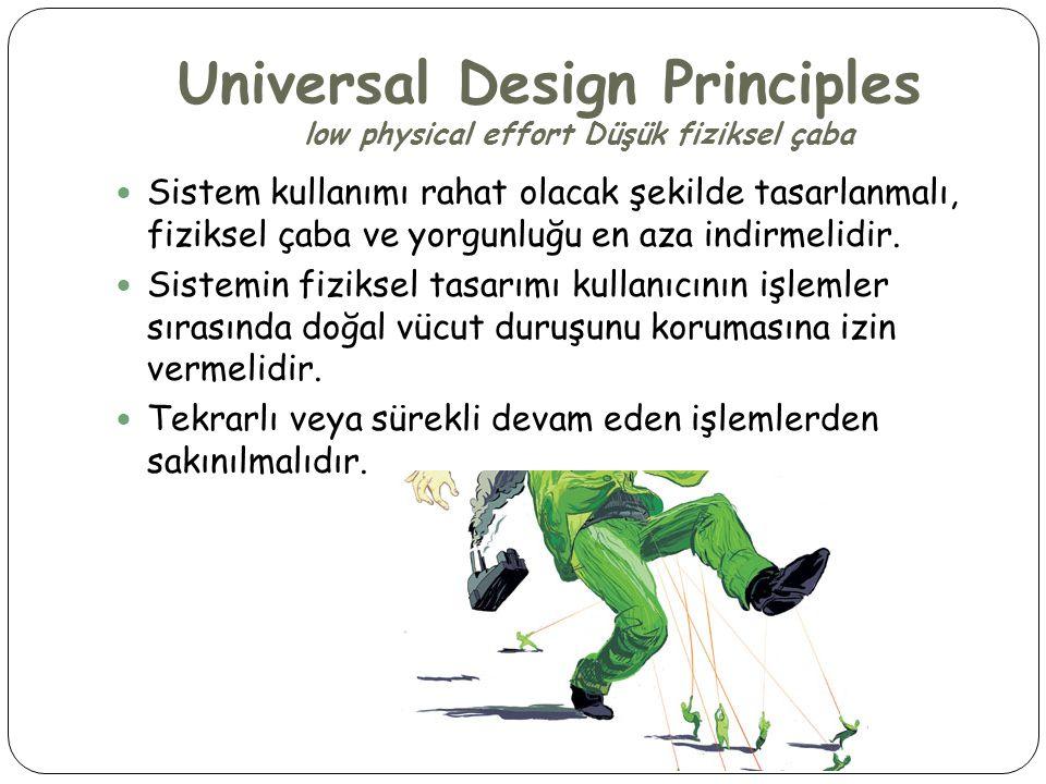 Universal Design Principles low physical effort Düşük fiziksel çaba  Sistem kullanımı rahat olacak şekilde tasarlanmalı, fiziksel çaba ve yorgunluğu
