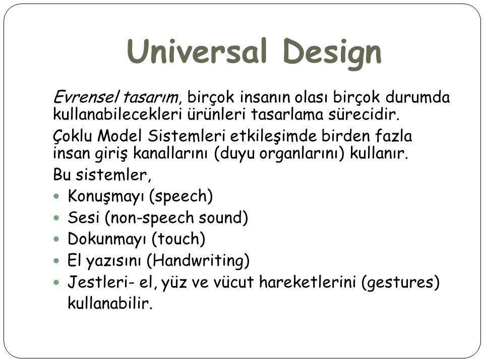Universal Design Evrensel tasarım, birçok insanın olası birçok durumda kullanabilecekleri ürünleri tasarlama sürecidir. Çoklu Model Sistemleri etkileş